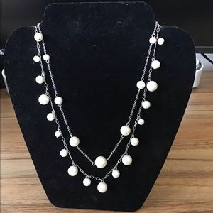 Express faux white pearl necklace